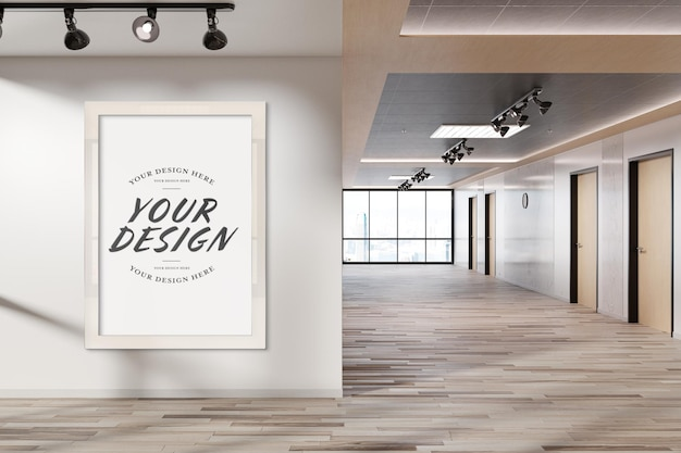 White frame hanging on office wall mockup