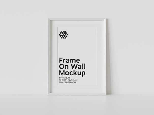 White frame leaning on wall mockup