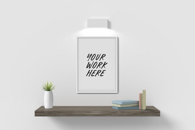 Белая рамка макет на стене