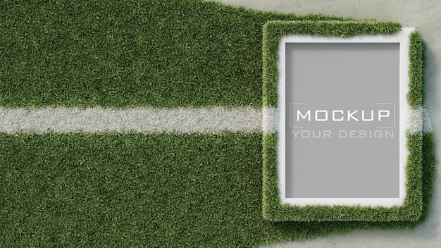 White frame mockup on concrete wall with grass playing field