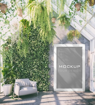 White frame mockup on concrete wall with vertical garden in green living room