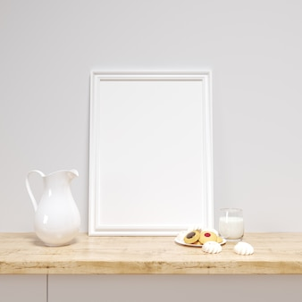 White frame mockup on a kitchen counter with delicious cookies