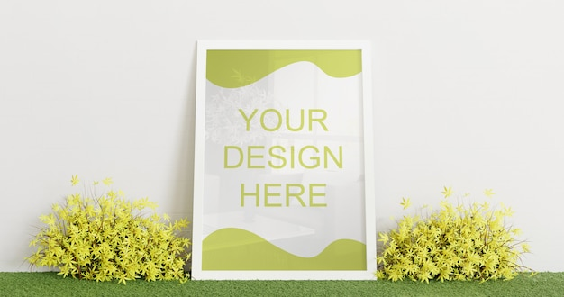 White frame mockup standing on grass carpet with couple decorative plant. horizontal frame