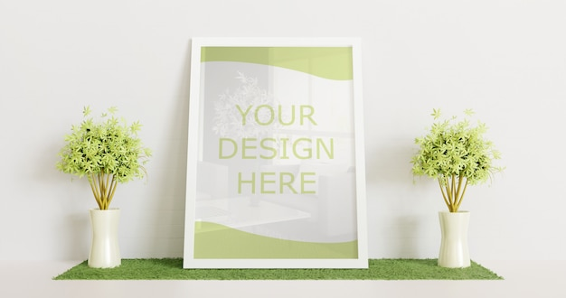 White frame mockup standing on white floor with couple decorative plant. horizontal frame