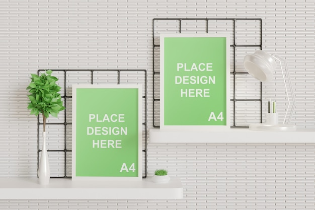 White frame mockup on the wall table Premium Psd