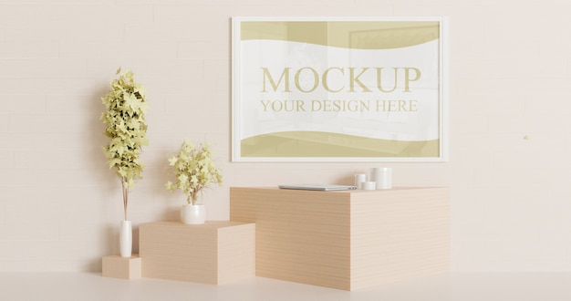 White frame mockup on the wall with couple decorative plants