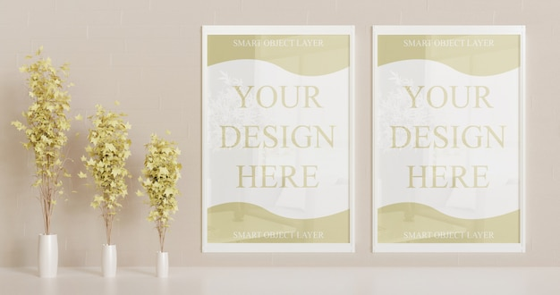 White frame mockup on the wall with decorative plants