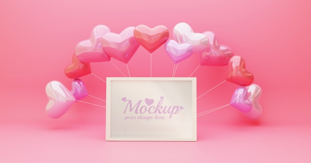 White frame mockup with heart shapes balloon in pink color