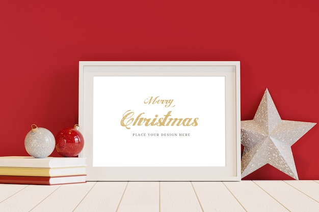 White frame with christmas decoration mockup