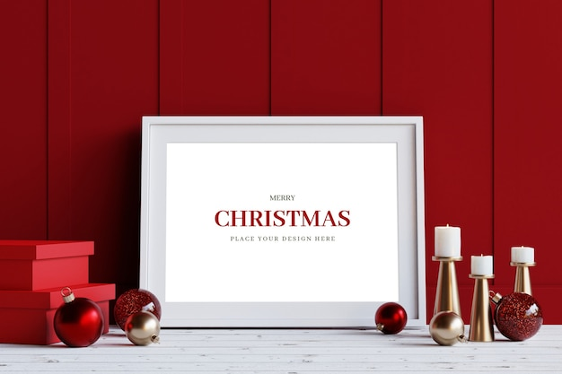 クリスマスの装飾のモックアップと白いフレーム