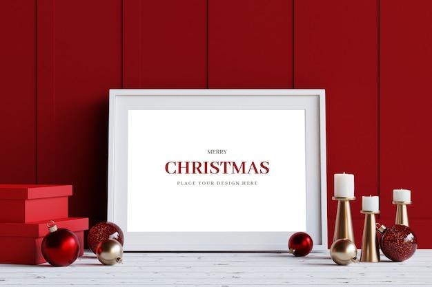 White frame with christmas decoration mockup