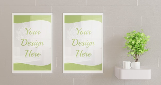 White frames mockup on the wall with decorative plant
