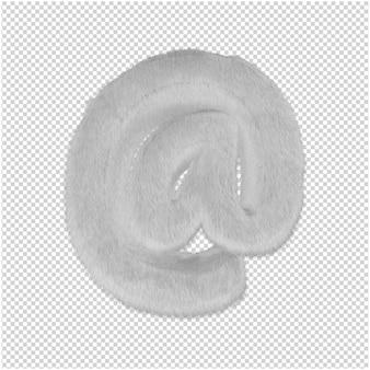 흰색 모피 기호 3d 렌더링