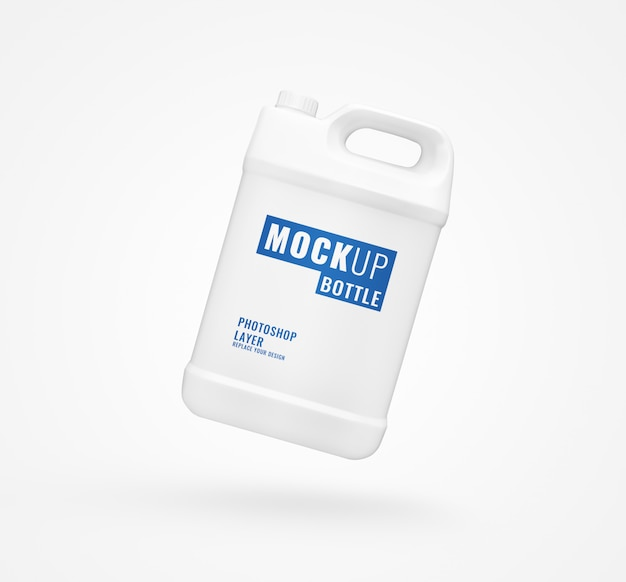 White gallon bottle advertising mockup