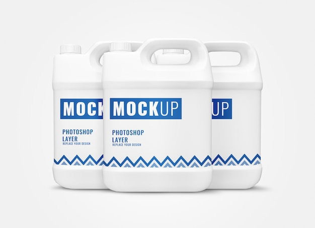 White gallon containers mockup