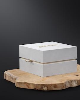 White gift jewelry box mockup on black background for branding 3d render