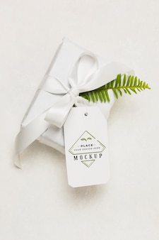 White gift with mock-up tag