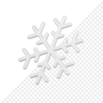 白い光沢のあるミニマルなスノーフレーク3dレンダリング。