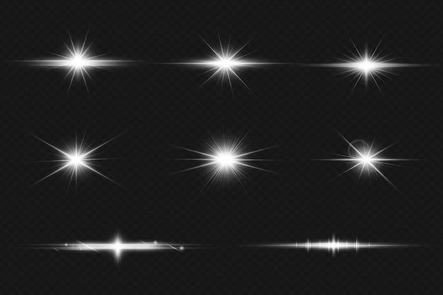 디바이더 컬렉션이 있는 흰색 빛나는 반짝임 및 렌즈 플레어