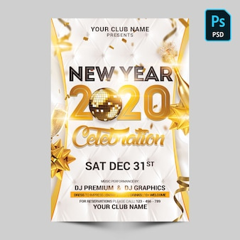 White and gold new year celebration Premium Psd