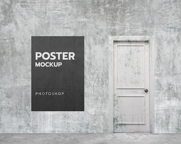 White grunge wall room poster mockup