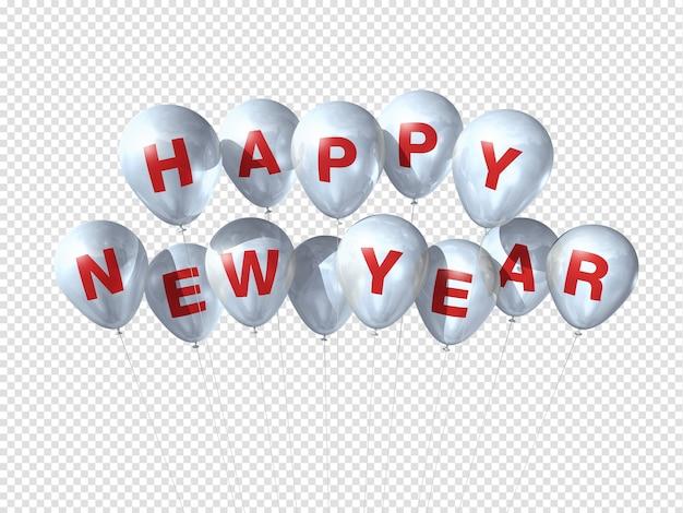 白で隔離される白い幸せな新年の風船