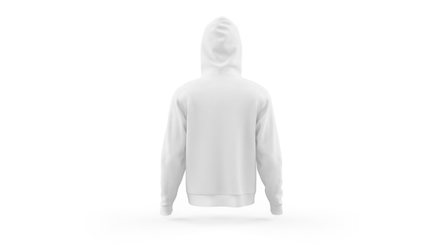 White hoodie mockup template isolated, back view