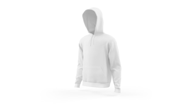 White hoodie mockup template isolated, front view
