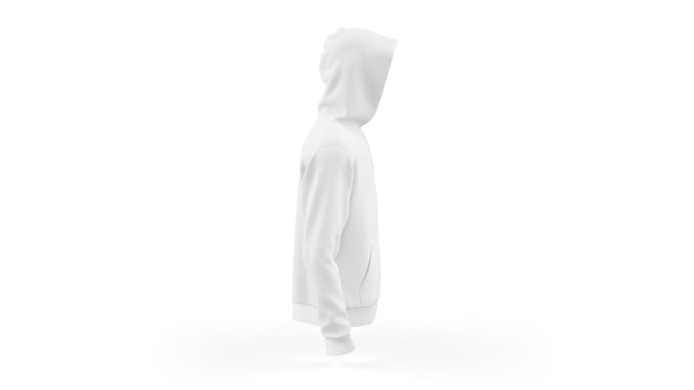 White hoodie mockup template isolated, side view