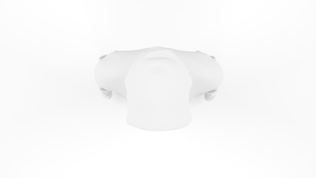 White hoodie mockup template isolated, top view