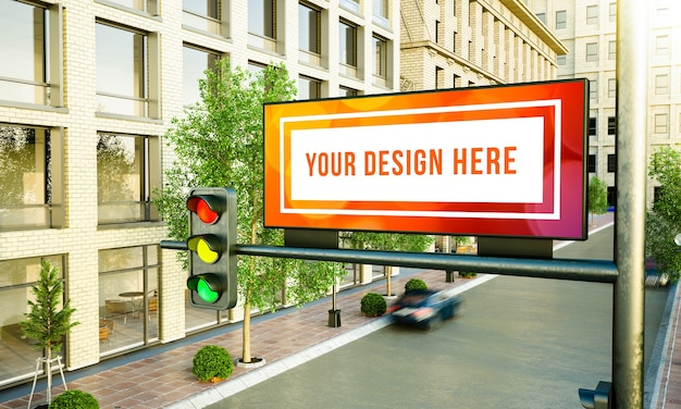 White horizontal billboard on the street 3d rendering