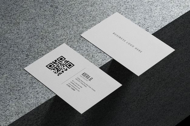 White horizontal business card paper mockup template with blank space