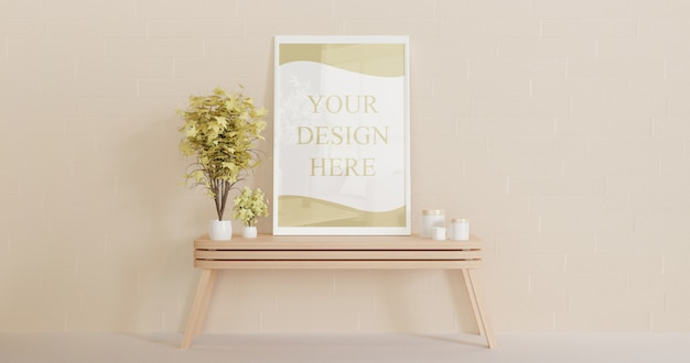 White horizontal frame mockup standing on the wooden table with decorative plants