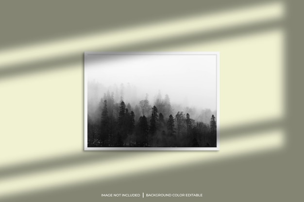 White horizontal photo frame mockup with shadow overlay and pastel color background
