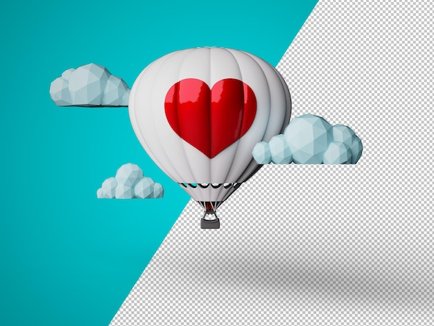 White hot air balloon with a red giant heart, low polygon white clouds, customizable color background