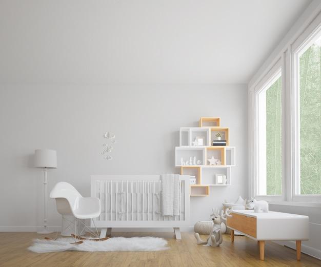 白い照らされた赤ちゃんの部屋