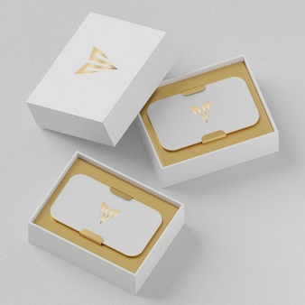 White lbusiness card holder mockup for brand identity 3d render