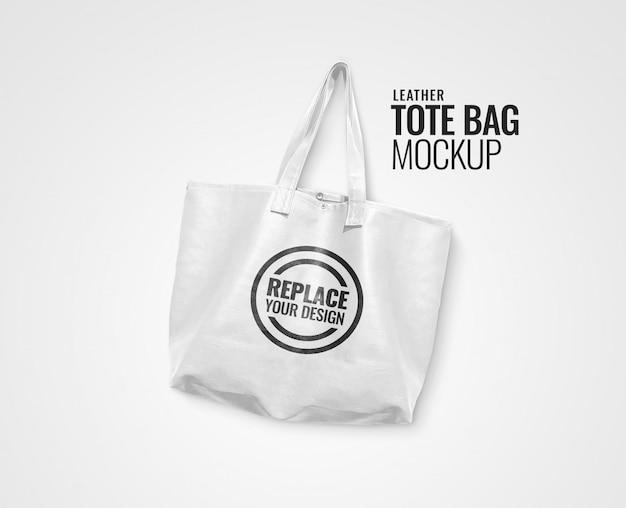 White leather tote bag mockup realistic