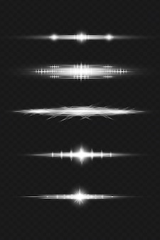 White lens flares pack in 3d rendering