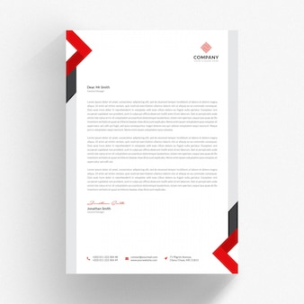 White letterhead cv template with red and grey details