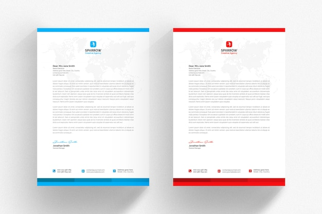White letterhead template set with blue and red details