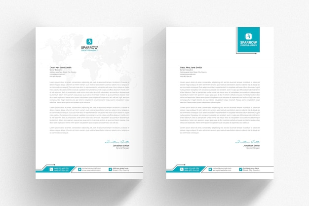 White letterhead template with aqua details