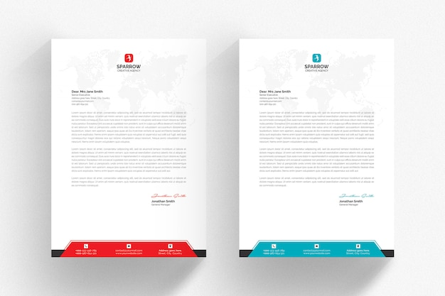 White letterhead template with aqua and red details