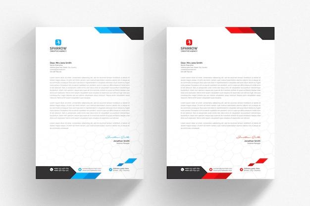 Белый шаблон бланка с синими и красными абстрактными формами