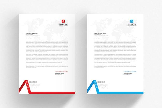 Белый шаблон бланка с синими и красными деталями