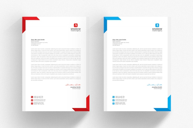 White letterhead template with blue and red details