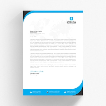 White letterhead template with blue wavy details