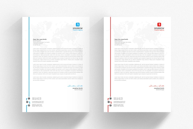 White letterhead template with colored side line