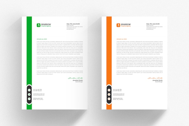 White letterhead template with green and orange details