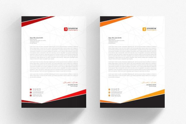 White letterhead template with red and orange details